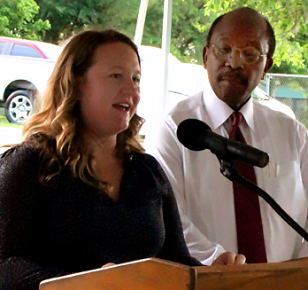 Julie Christensen of the Tallahassee-Leon County Planning Department and City Commissioner Curtis Richardson at press conference.
