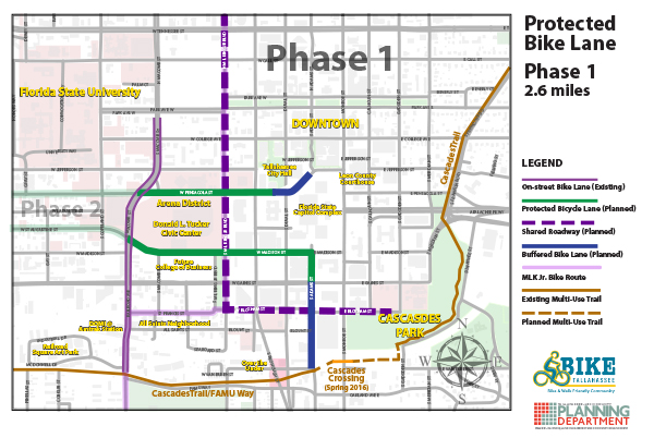 Protected Bike lane network Map Phase 1